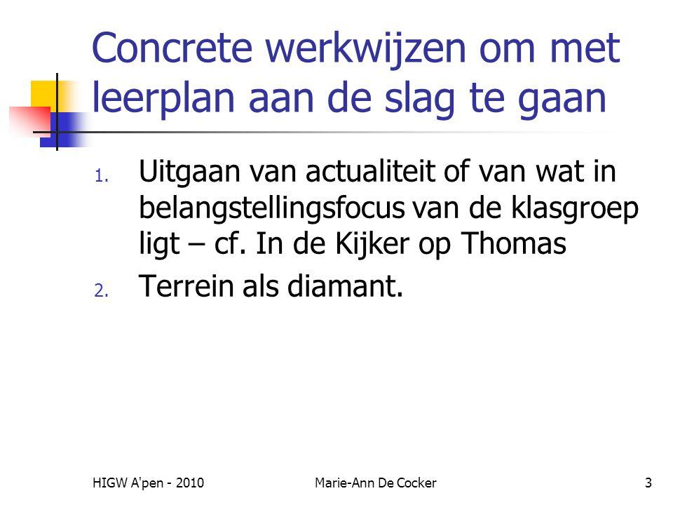 HIGW A'pen - 2010Marie-Ann De Cocker3 Concrete werkwijzen om met leerplan aan de slag te gaan 1. Uitgaan van actualiteit of van wat in belangstellings