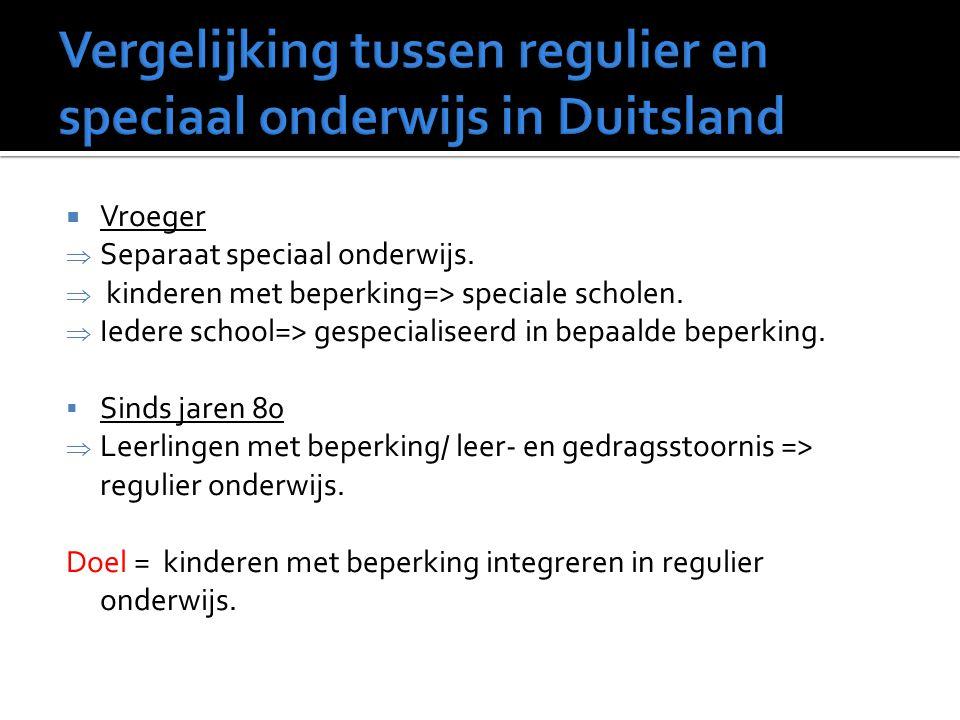  Vroeger  Separaat speciaal onderwijs.  kinderen met beperking=> speciale scholen.  Iedere school=> gespecialiseerd in bepaalde beperking.  Sinds
