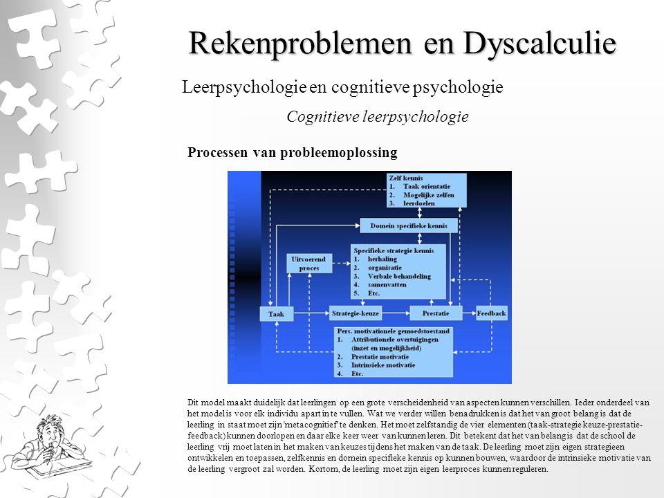 Rekenproblemen en Dyscalculie Processen van probleemoplossing Dit model maakt duidelijk dat leerlingen op een grote verscheidenheid van aspecten kunne