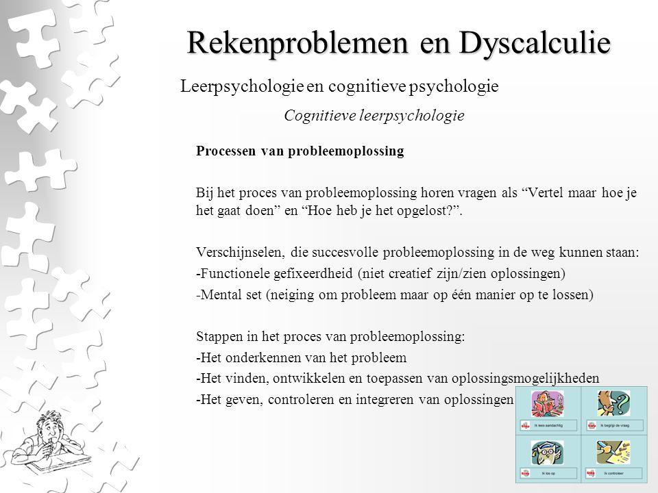 """Rekenproblemen en Dyscalculie Processen van probleemoplossing Bij het proces van probleemoplossing horen vragen als """"Vertel maar hoe je het gaat doen"""""""