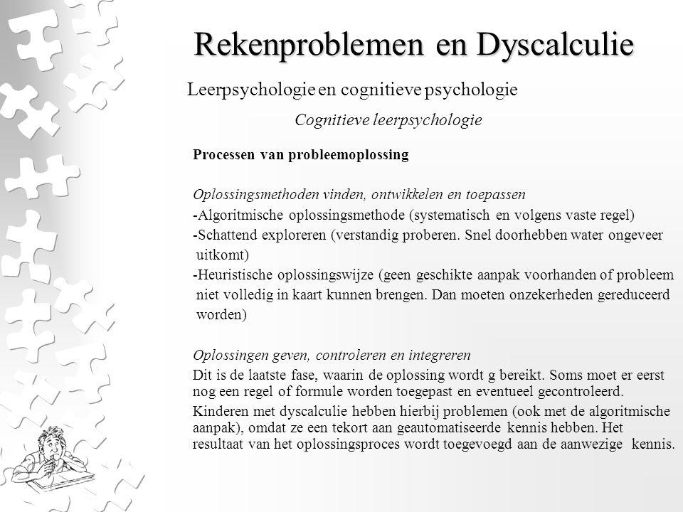 Rekenproblemen en Dyscalculie Processen van probleemoplossing Oplossingsmethoden vinden, ontwikkelen en toepassen -Algoritmische oplossingsmethode (sy