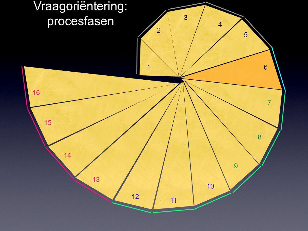 1 2 3 4 5 6 8 7 9 10 11 12 13 14 15 16 Vraagoriëntering: procesfasen