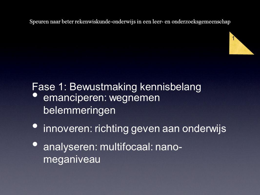 Speuren naar beter rekenwiskunde-onderwijs in een leer- en onderzoeksgemeenschap 1 emanciperen: wegnemen belemmeringen innoveren: richting geven aan onderwijs analyseren: multifocaal: nano- meganiveau Fase 1: Bewustmaking kennisbelang