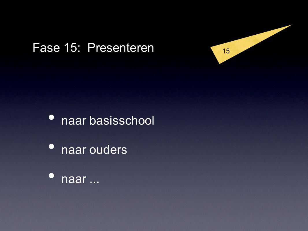 15 Fase 15: Presenteren naar basisschool naar ouders naar...