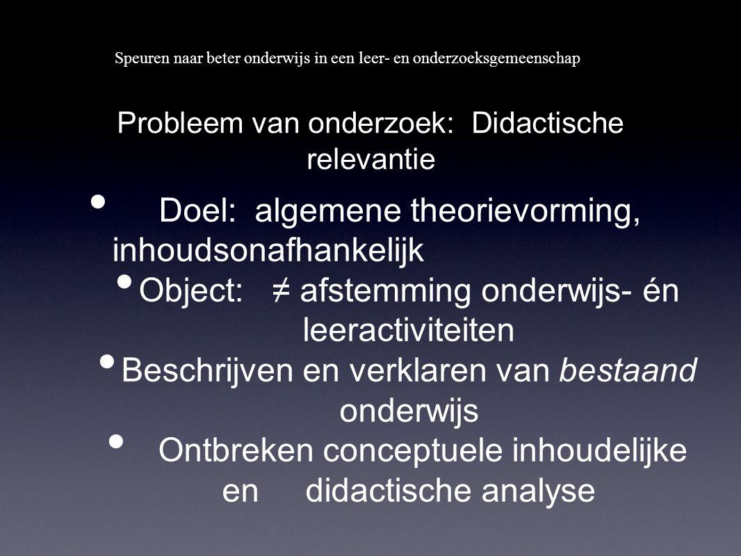 Speuren naar beter onderwijs in een leer- en onderzoeksgemeenschap Probleem van onderzoek: Didactische relevantie Doel: algemene theorievorming, inhou