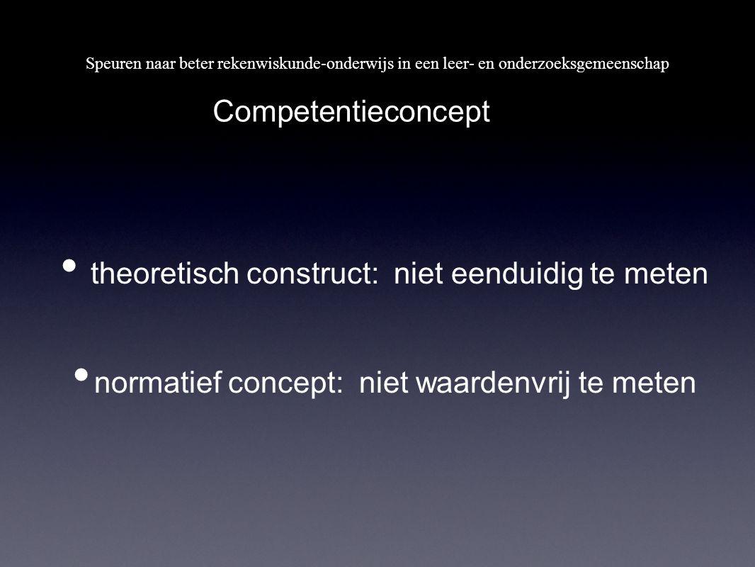 Competentieconcept theoretisch construct: niet eenduidig te meten normatief concept: niet waardenvrij te meten