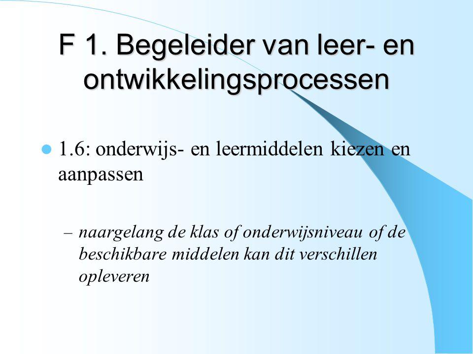 F 1. Begeleider van leer- en ontwikkelingsprocessen 1.6: onderwijs- en leermiddelen kiezen en aanpassen – naargelang de klas of onderwijsniveau of de