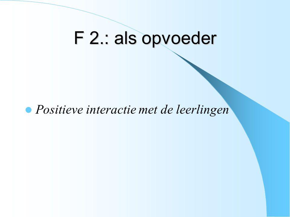 F 2.: als opvoeder Positieve interactie met de leerlingen
