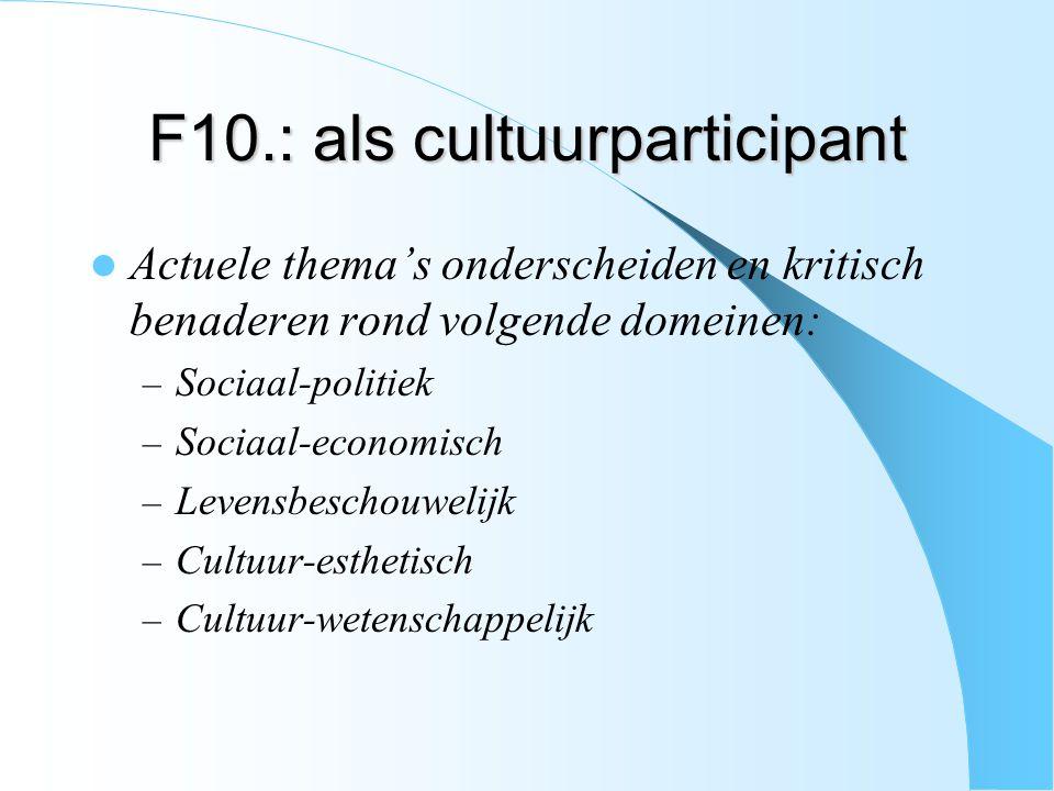 F10.: als cultuurparticipant Actuele thema's onderscheiden en kritisch benaderen rond volgende domeinen: – Sociaal-politiek – Sociaal-economisch – Lev