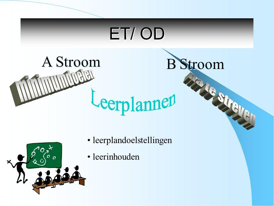 ET/ OD A Stroom B Stroom leerplandoelstellingen leerinhouden
