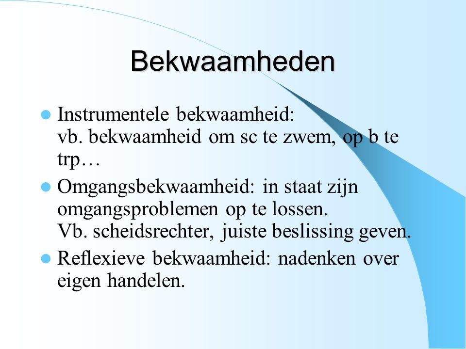 Bekwaamheden Instrumentele bekwaamheid: vb. bekwaamheid om sc te zwem, op b te trp… Omgangsbekwaamheid: in staat zijn omgangsproblemen op te lossen. V