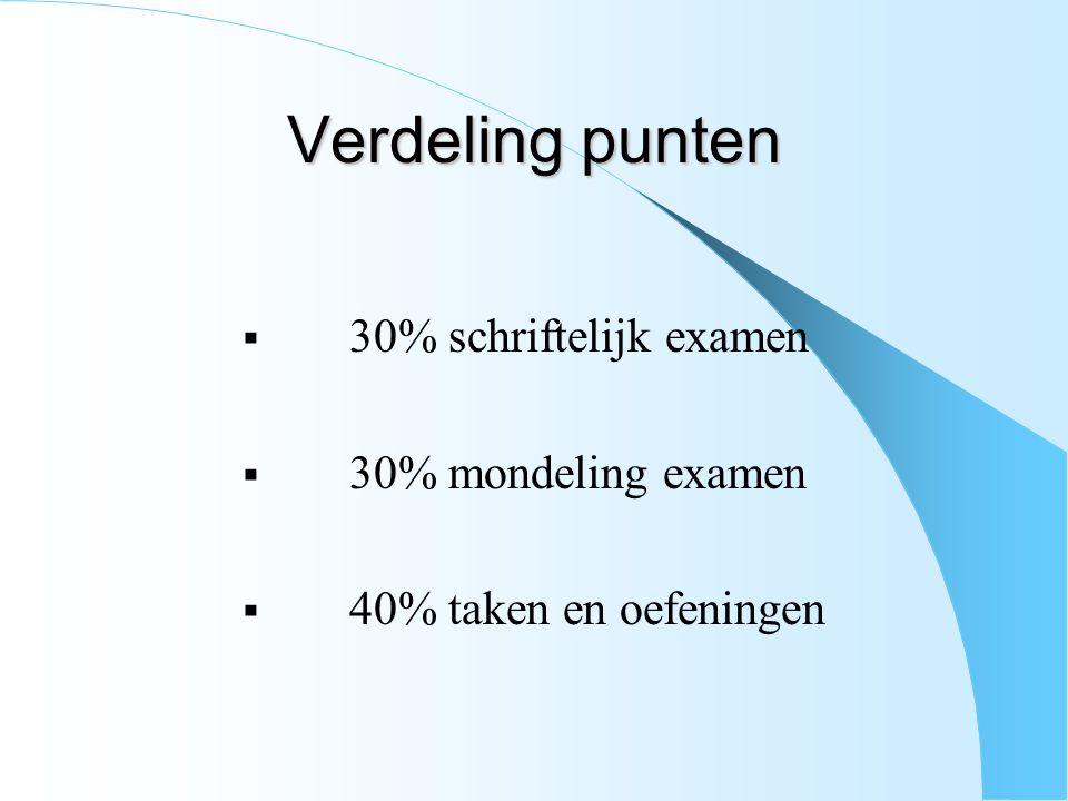 Verdeling punten  30% schriftelijk examen  30% mondeling examen  40% taken en oefeningen