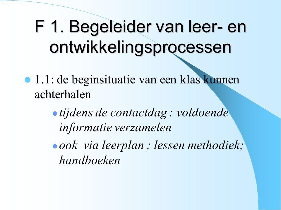 F 1. Begeleider van leer- en ontwikkelingsprocessen 1.1: de beginsituatie van een klas kunnen achterhalen tijdens de contactdag : voldoende informatie