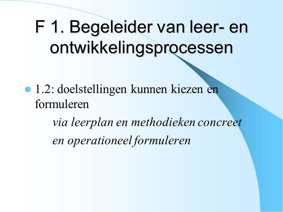 F 1. Begeleider van leer- en ontwikkelingsprocessen 1.2: doelstellingen kunnen kiezen en formuleren via leerplan en methodieken concreet en operatione