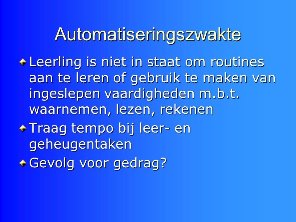 Automatiseringszwakte Leerling is niet in staat om routines aan te leren of gebruik te maken van ingeslepen vaardigheden m.b.t. waarnemen, lezen, reke