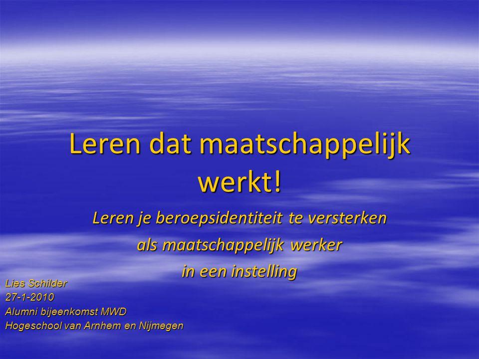 Leren dat maatschappelijk werkt! Leren je beroepsidentiteit te versterken als maatschappelijk werker in een instelling Lies Schilder 27-1-2010 Alumni