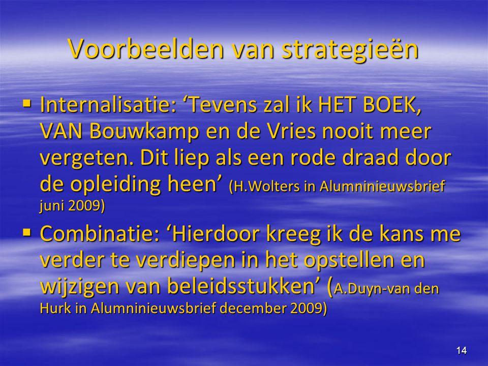 14 Voorbeelden van strategieën  Internalisatie: 'Tevens zal ik HET BOEK, VAN Bouwkamp en de Vries nooit meer vergeten. Dit liep als een rode draad do