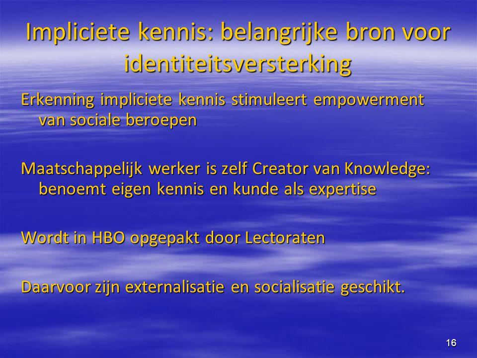 16 Impliciete kennis: belangrijke bron voor identiteitsversterking Erkenning impliciete kennis stimuleert empowerment van sociale beroepen Maatschappe