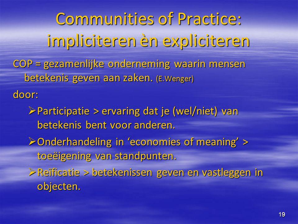 19 Communities of Practice: impliciteren èn expliciteren COP = gezamenlijke onderneming waarin mensen betekenis geven aan zaken. (E.Wenger) door:  Pa