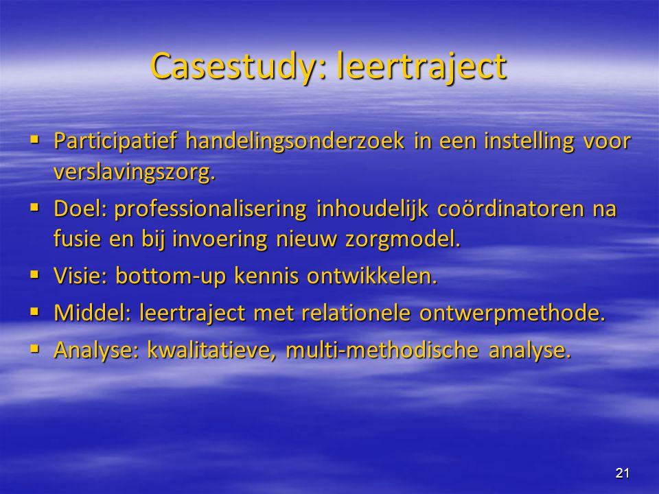 21 Casestudy: leertraject  Participatief handelingsonderzoek in een instelling voor verslavingszorg.  Doel: professionalisering inhoudelijk coördina