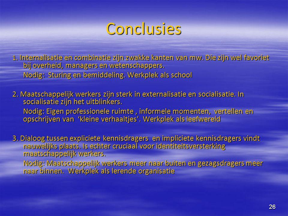 26 Conclusies 1. Internalisatie en combinatie zijn zwakke kanten van mw. Die zijn wel favoriet bij overheid, managers en wetenschappers. Nodig: Sturin