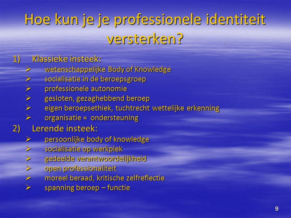 9 Hoe kun je je professionele identiteit versterken? 1)Klassieke insteek:  wetenschappelijke Body of Knowledge  socialisatie in de beroepsgroep  pr