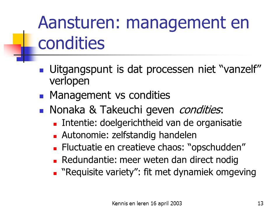"""Kennis en leren 16 april 200313 Aansturen: management en condities Uitgangspunt is dat processen niet """"vanzelf"""" verlopen Management vs condities Nonak"""