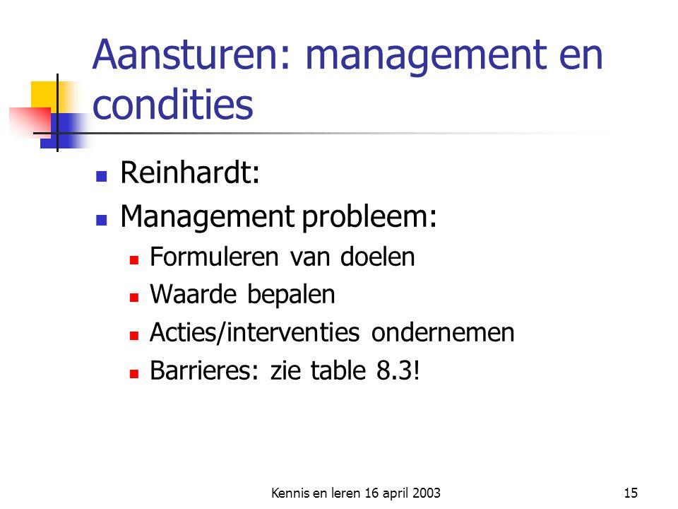 Kennis en leren 16 april 200315 Aansturen: management en condities Reinhardt: Management probleem: Formuleren van doelen Waarde bepalen Acties/interve