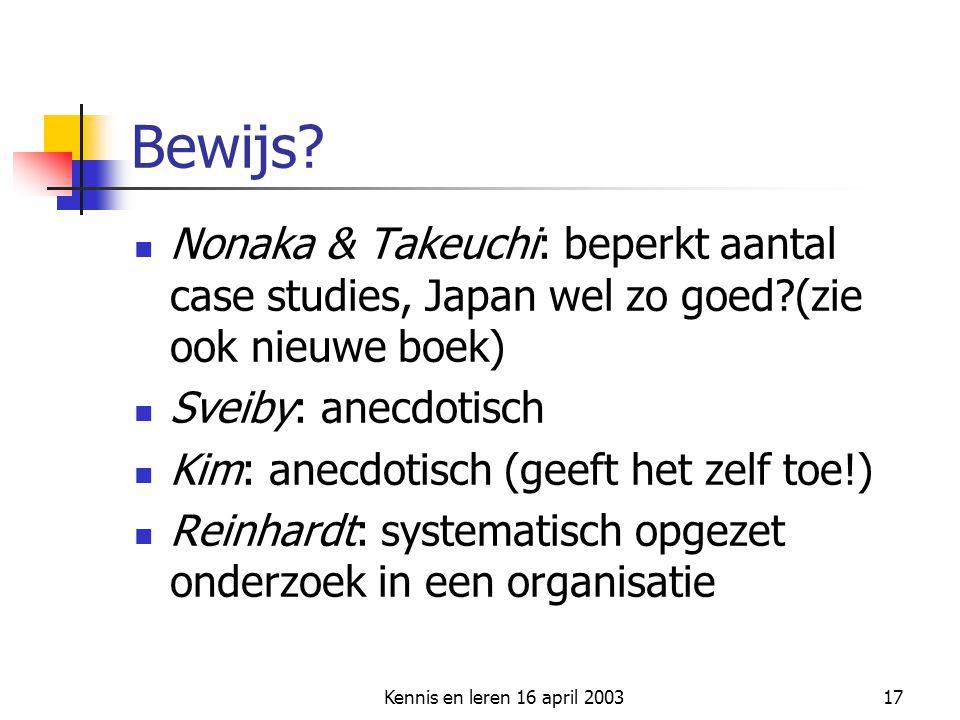 Kennis en leren 16 april 200317 Bewijs? Nonaka & Takeuchi: beperkt aantal case studies, Japan wel zo goed?(zie ook nieuwe boek) Sveiby: anecdotisch Ki
