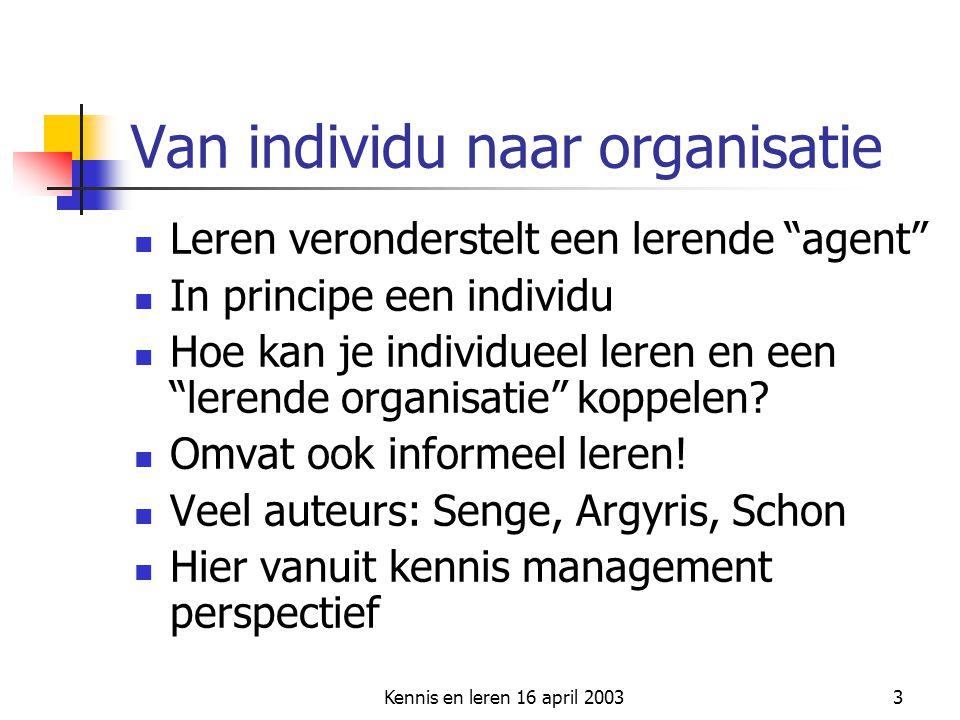 """Kennis en leren 16 april 20033 Van individu naar organisatie Leren veronderstelt een lerende """"agent"""" In principe een individu Hoe kan je individueel l"""