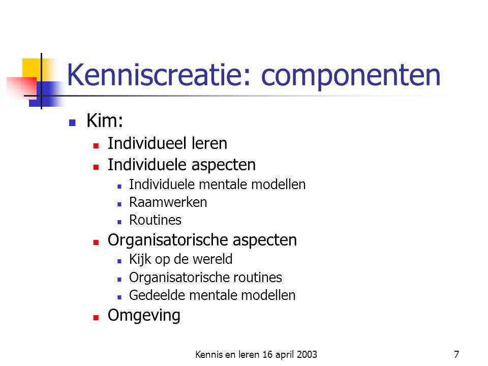 Kennis en leren 16 april 20037 Kenniscreatie: componenten Kim: Individueel leren Individuele aspecten Individuele mentale modellen Raamwerken Routines