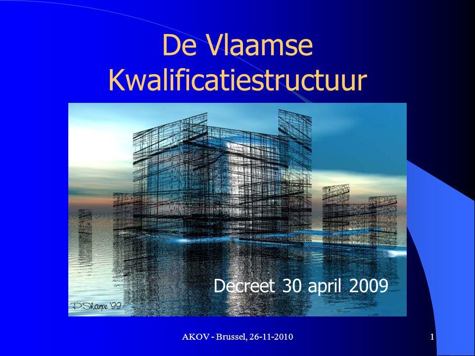 AKOV - Brussel, 26-11-2010 Doelstelling Zichtbaar maken van wat mensen kunnen Competenties Ontwikkelingen: – Leven lang leren: « lerende » samenleving – Aansluiting met werken: « groeiende » samenleving 2