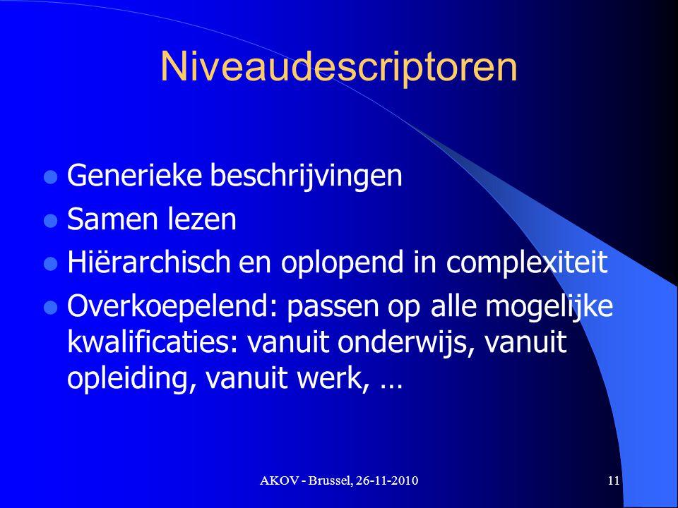 AKOV - Brussel, 26-11-2010 Niveaudescriptoren Generieke beschrijvingen Samen lezen Hiërarchisch en oplopend in complexiteit Overkoepelend: passen op alle mogelijke kwalificaties: vanuit onderwijs, vanuit opleiding, vanuit werk, … 11