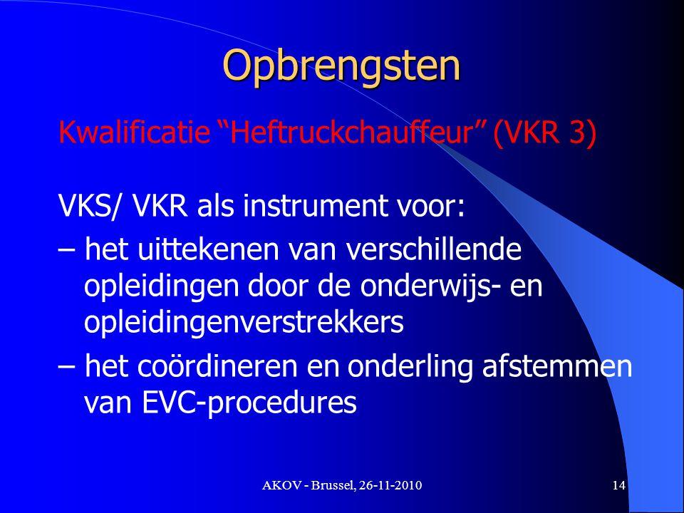 AKOV - Brussel, 26-11-2010 Opbrengsten Kwalificatie Heftruckchauffeur (VKR 3) VKS/ VKR als instrument voor: – het uittekenen van verschillende opleidingen door de onderwijs- en opleidingenverstrekkers – het coördineren en onderling afstemmen van EVC-procedures 14
