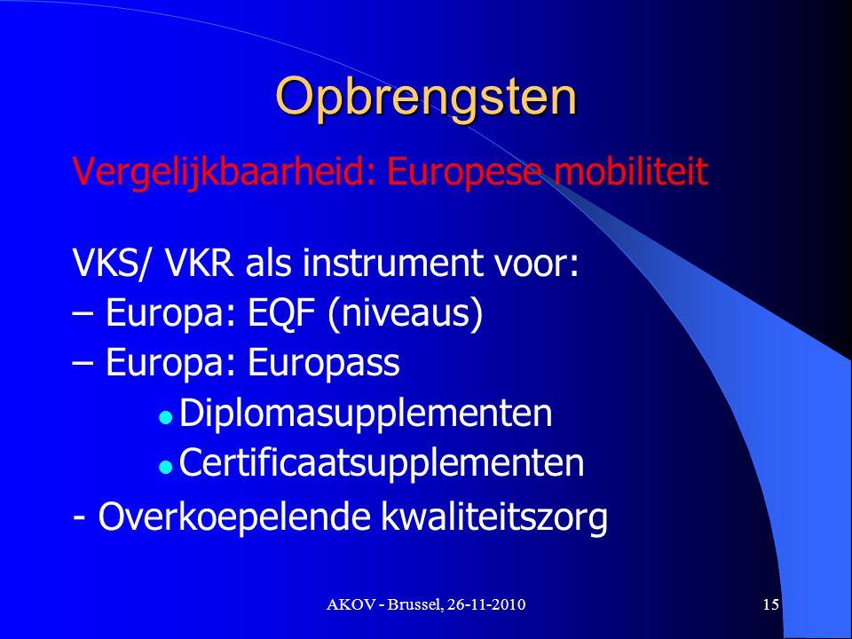 AKOV - Brussel, 26-11-2010 Opbrengsten Vergelijkbaarheid: Europese mobiliteit VKS/ VKR als instrument voor: – Europa: EQF (niveaus) – Europa: Europass Diplomasupplementen Certificaatsupplementen - Overkoepelende kwaliteitszorg 15
