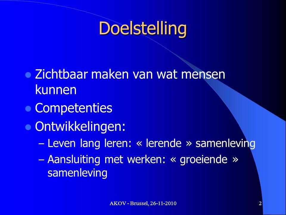 AKOV - Brussel, 26-11-2010 Leven lang leren Leer-'weg': Studies Werkvloer Andere (vrijwilligerswerk, socio-culturele sector,...) Leer-'vorm': Formeel Non-formeel, informeel Leer-'omvang': Volledig Partieel 3