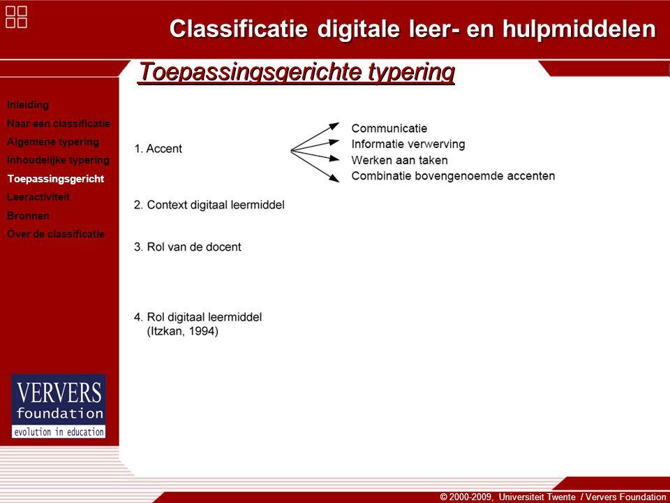 Classificatie digitale leer- en hulpmiddelen © 2000-2009, Universiteit Twente / Ververs Foundation Toepassingsgerichte typering Inleiding Naar een cla