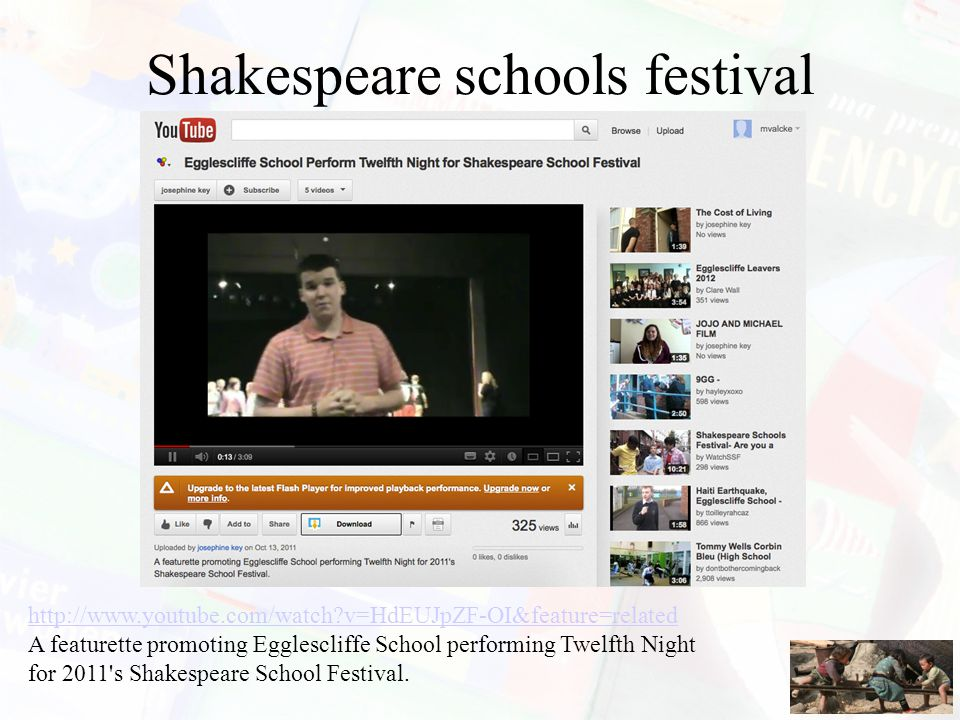 Shakespeare schools festival http://www.youtube.com/watch?v=HdEUJpZF-OI&feature=related A featurette promoting Egglescliffe School performing Twelfth