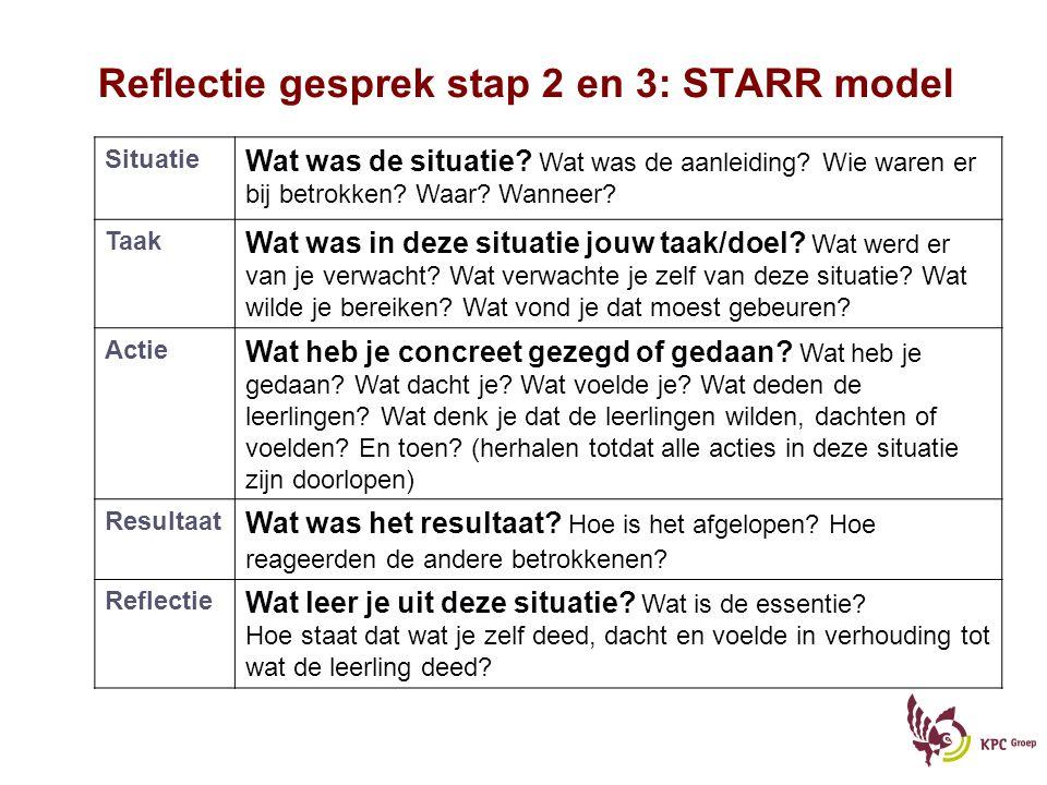 Reflectie gesprek stap 2 en 3: STARR model Situatie Wat was de situatie.