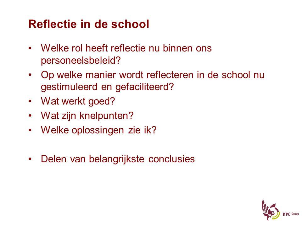 Reflectie in de school Welke rol heeft reflectie nu binnen ons personeelsbeleid.