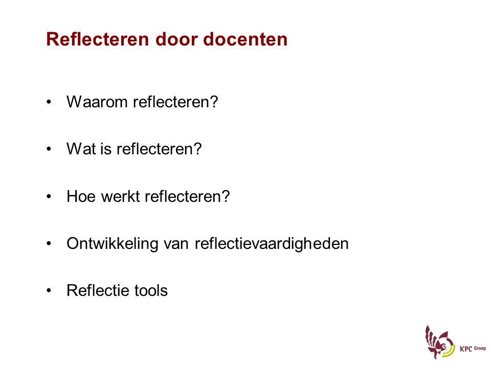 Reflecteren door docenten Waarom reflecteren.Wat is reflecteren.