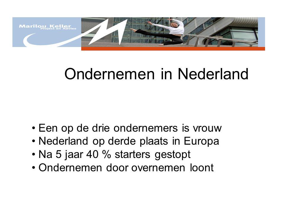 Ondernemen in Nederland Een op de drie ondernemers is vrouw Nederland op derde plaats in Europa Na 5 jaar 40 % starters gestopt Ondernemen door overne