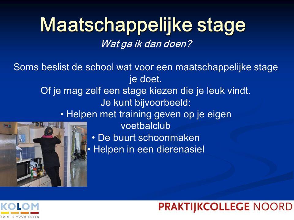 Maatschappelijke stage Wat ga ik dan doen? Soms beslist de school wat voor een maatschappelijke stage je doet. Of je mag zelf een stage kiezen die je