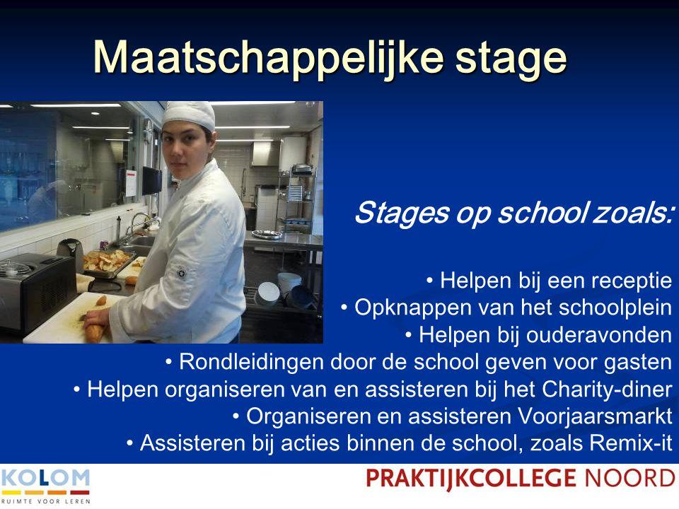 Maatschappelijke stage Stages op school zoals: Helpen bij een receptie Opknappen van het schoolplein Helpen bij ouderavonden Rondleidingen door de sch
