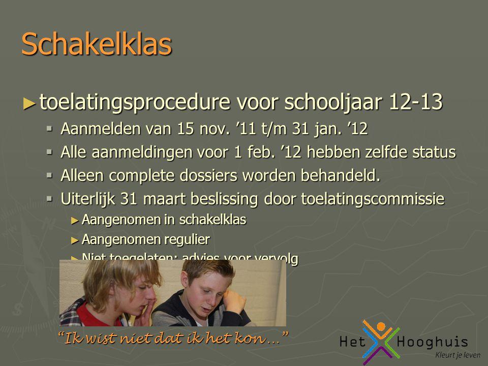 Ik wist niet dat ik het kon … Schakelklas ► toelatingsprocedure voor schooljaar 12-13  Aanmelden van 15 nov.