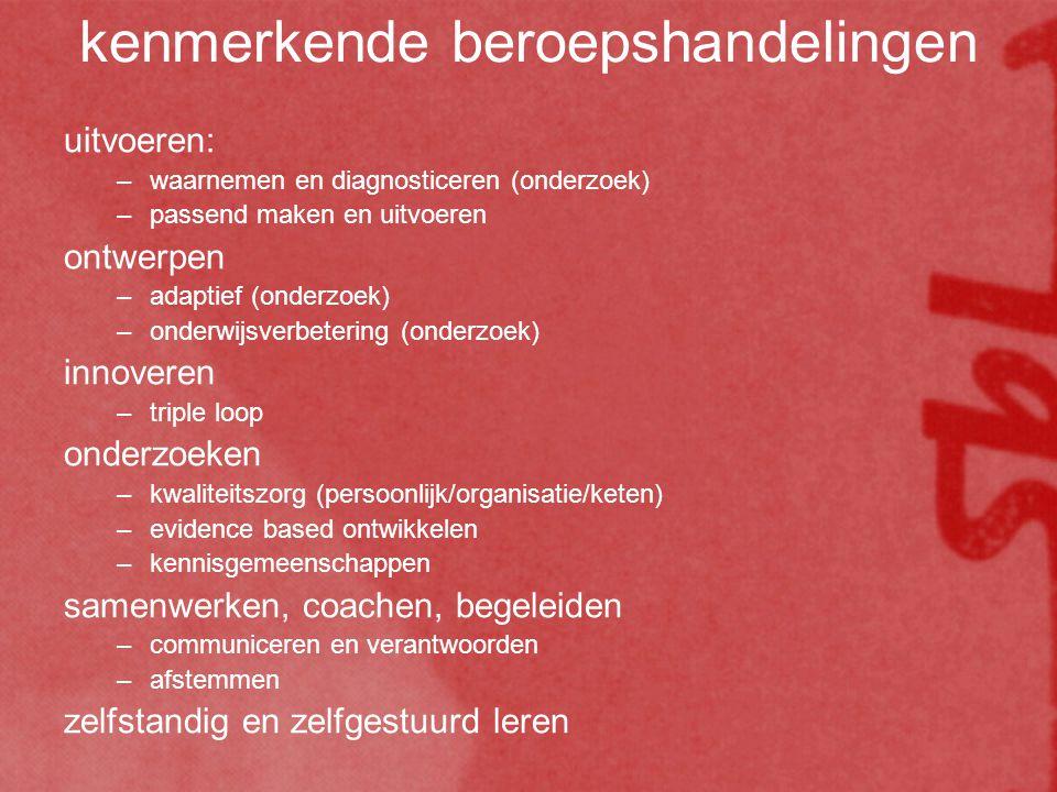 kenmerkende beroepshandelingen uitvoeren: –waarnemen en diagnosticeren (onderzoek) –passend maken en uitvoeren ontwerpen –adaptief (onderzoek) –onderwijsverbetering (onderzoek) innoveren –triple loop onderzoeken –kwaliteitszorg (persoonlijk/organisatie/keten) –evidence based ontwikkelen –kennisgemeenschappen samenwerken, coachen, begeleiden –communiceren en verantwoorden –afstemmen zelfstandig en zelfgestuurd leren