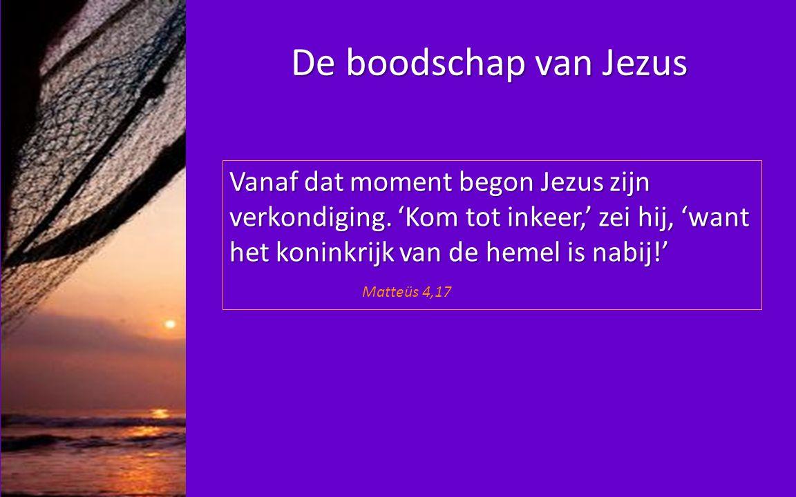 Het eerste wat Jezus doet: leerlingen maken Hij zei tegen Simon en Andreas: 'Kom, volg mij, (…) Hij riep Johannes en Jakobus Matteüs 4, 19&21
