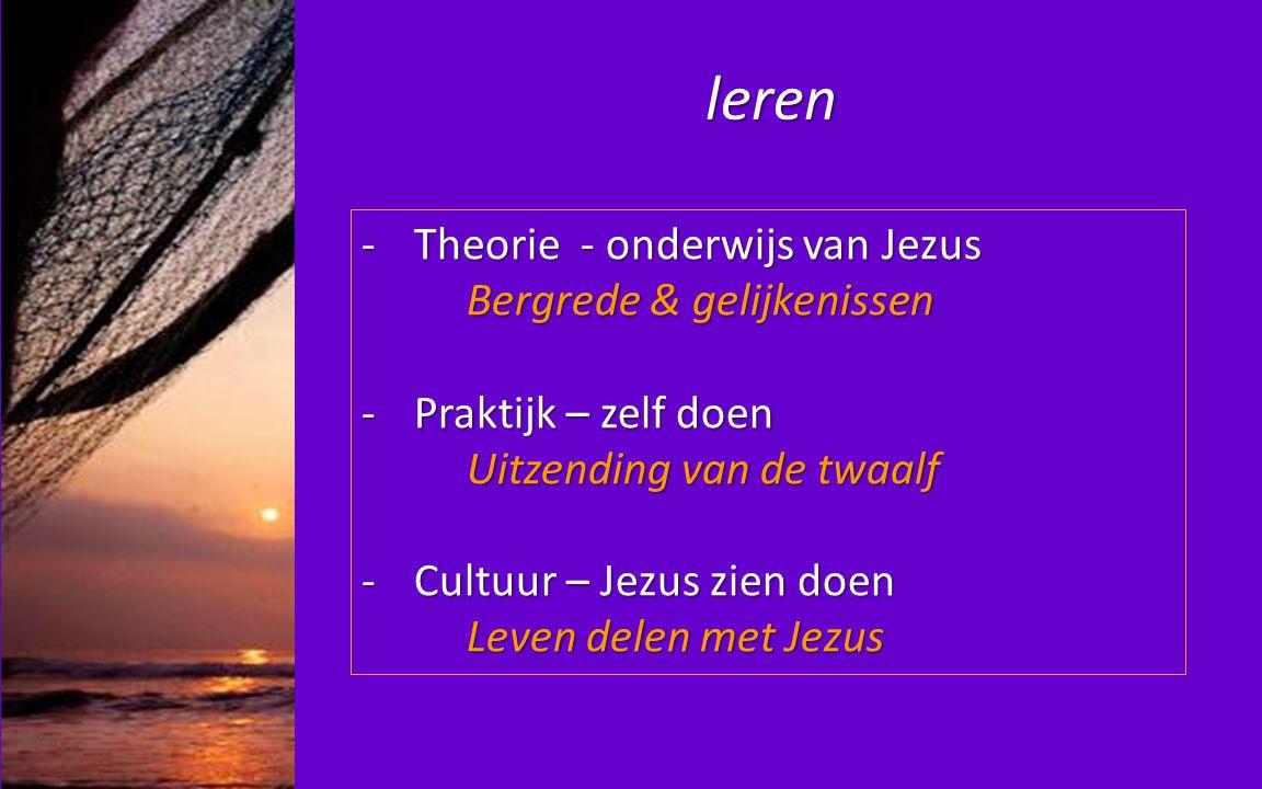 leren -Theorie - onderwijs van Jezus Bergrede & gelijkenissen Bergrede & gelijkenissen -Praktijk – zelf doen Uitzending van de twaalf -Cultuur – Jezus