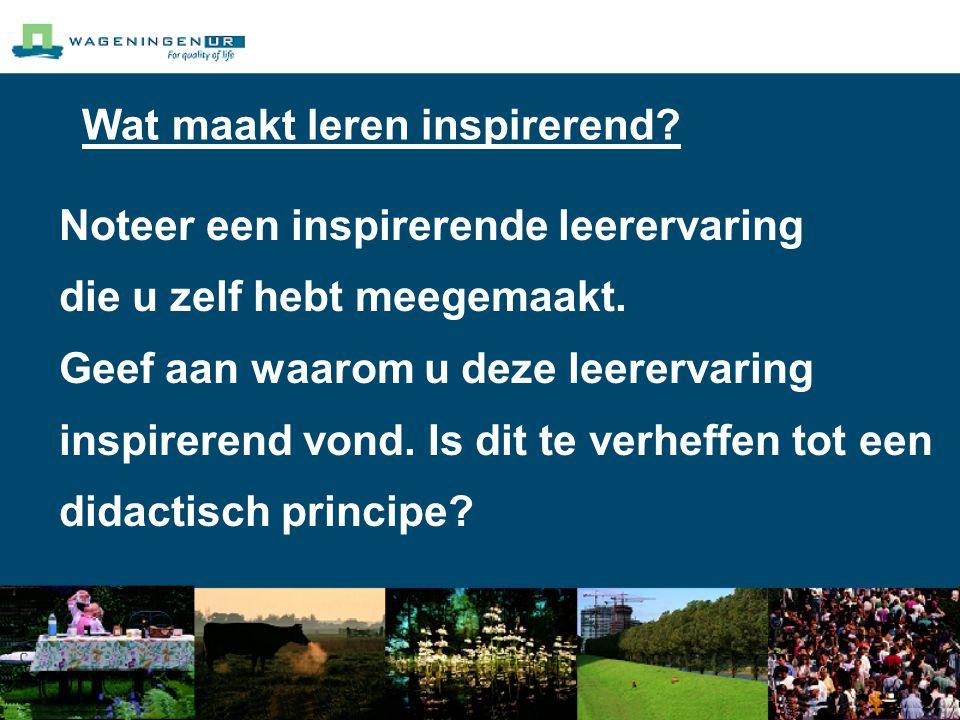 Wat maakt leren inspirerend. Noteer een inspirerende leerervaring die u zelf hebt meegemaakt.