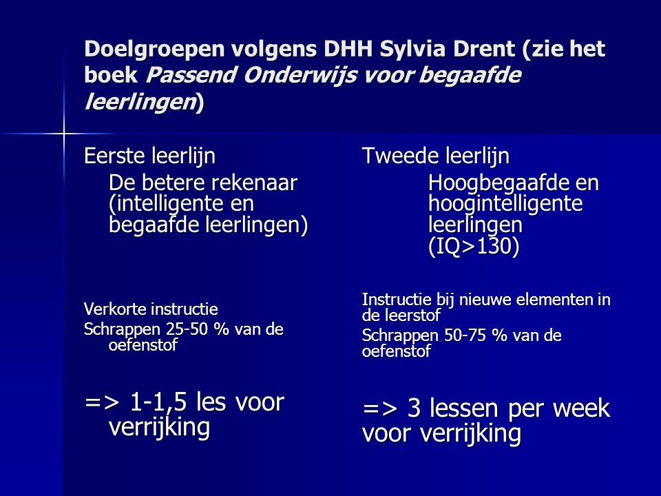 Doelgroepen volgens DHH Sylvia Drent (zie het boek Passend Onderwijs voor begaafde leerlingen) Eerste leerlijn De betere rekenaar (intelligente en beg